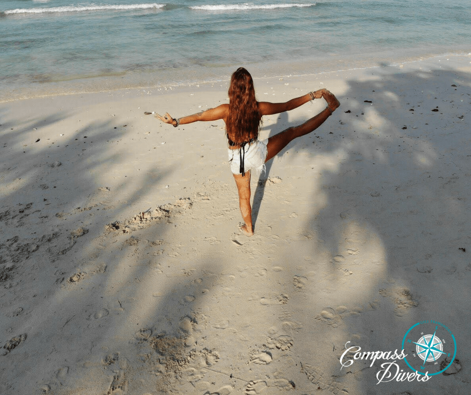 Yoga position on the beach.