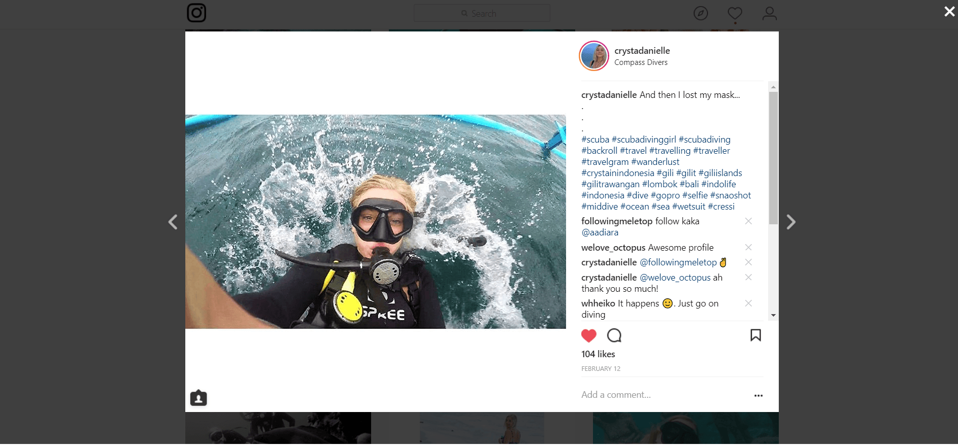 Instagram post of woman backrolling into the sea.